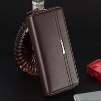 Double Zipper Men Clutch Bags Leather Wallet Men Baellerry Brand Wallets Male Long Wallets Purses