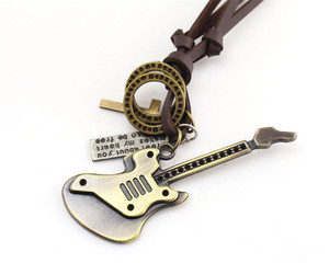 Mens Fashion Personality Alloy Material Music Play Guitar Necklace