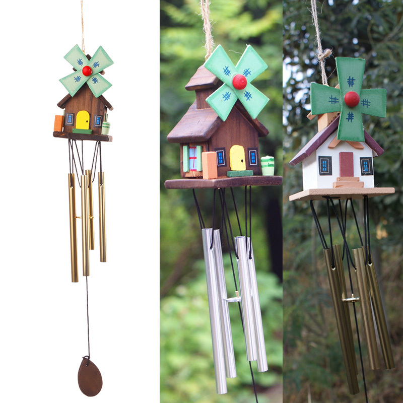 Hot sale Chinese Yunnan Unique Windmill Copper Log-cabin Metal Wind Chimes Rustic Cute