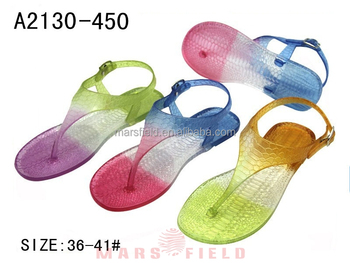 902a89043fa9 Multicolor flat plastic jelly shoes Crocodile pattern sandal for ladies