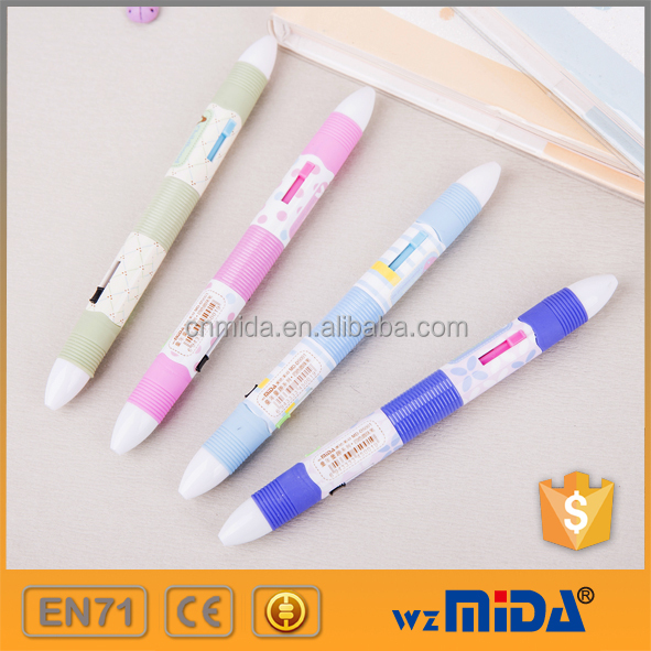 lovely multi-colored ball point pen 4 in 1 plastic 4 colors ball pen MD-D5001