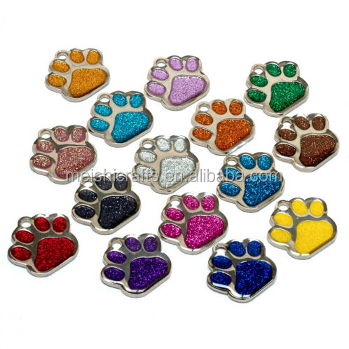 Personalised ID Pet Tag Glitter Paw 27mm Dog Tags ENGRAVED