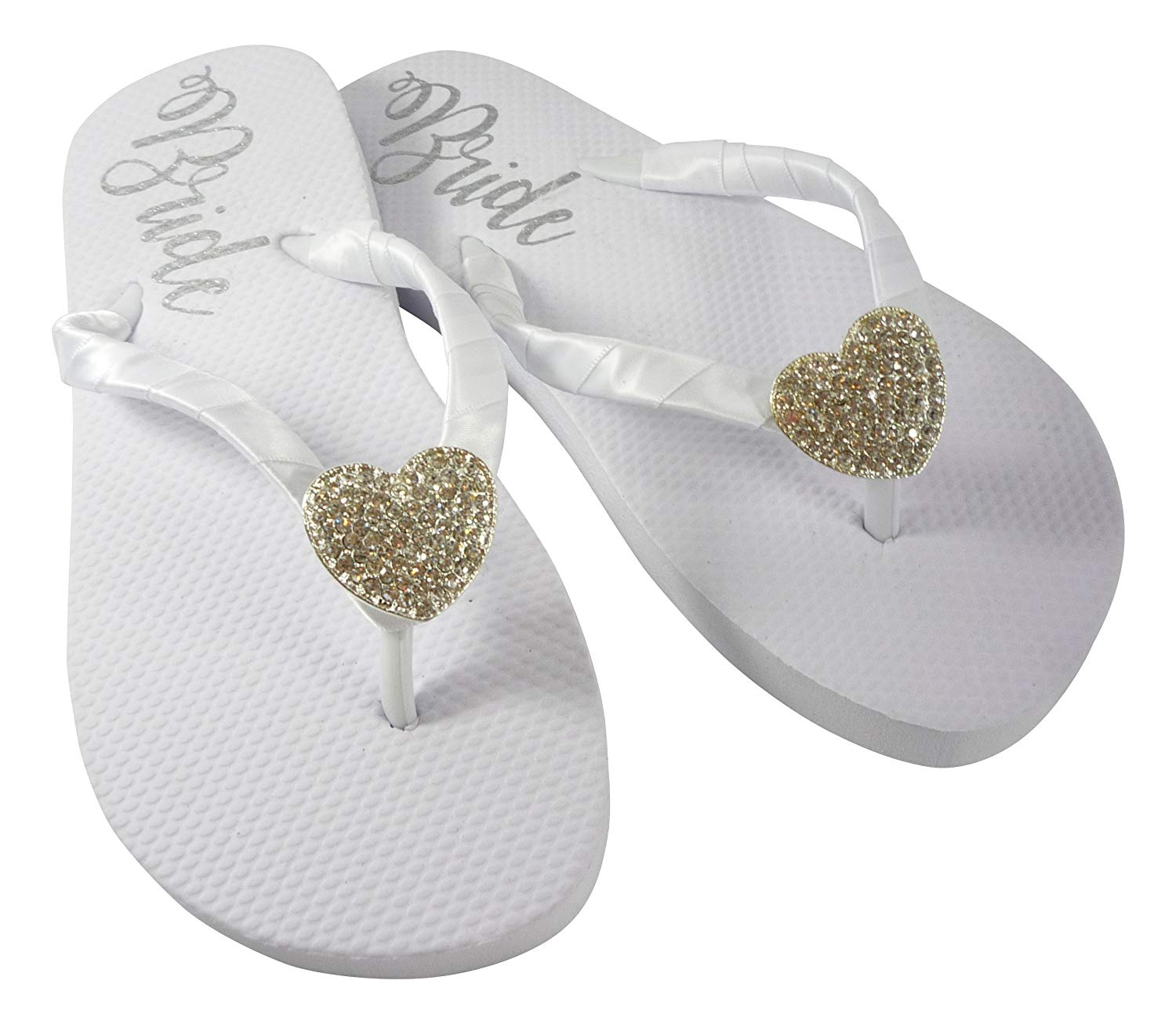 8c6d2e2fd7ccd Get Quotations · Heart or Custom Embellishment Bride Sole Flat Wedding Flip  Flops