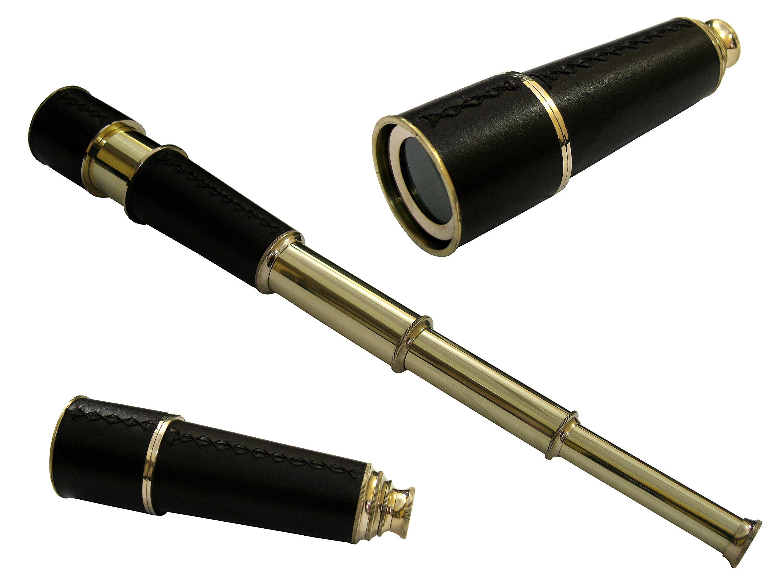 "Vintage Brass Telescope 12/"" Monocular Telescope Pirate Spyglass W// Leather Box"