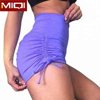 Custom Side Strings Yoga Shorts Womens Gym Shorts Girls Scrunch Butt Booty Puple Fitness Shorts