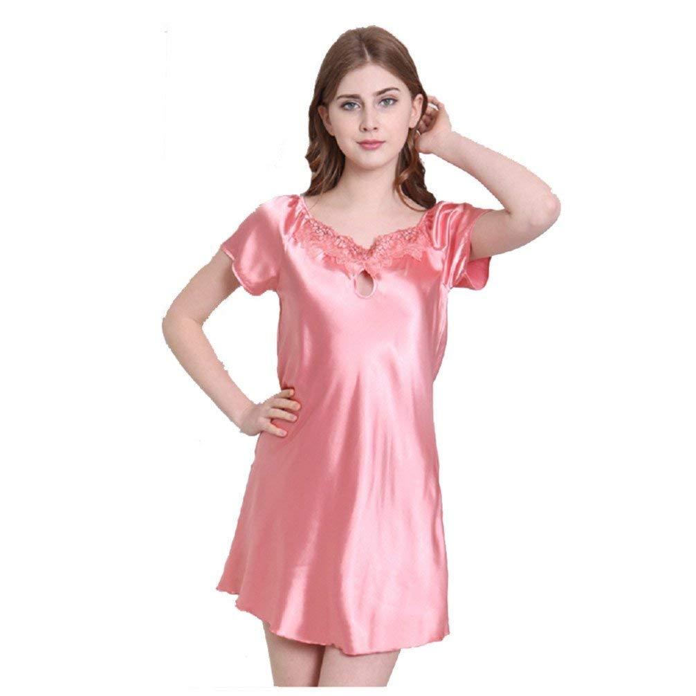 Get Quotations · Silk Pajamas Female Summer Short-Sleeved Nightdress 86357d831