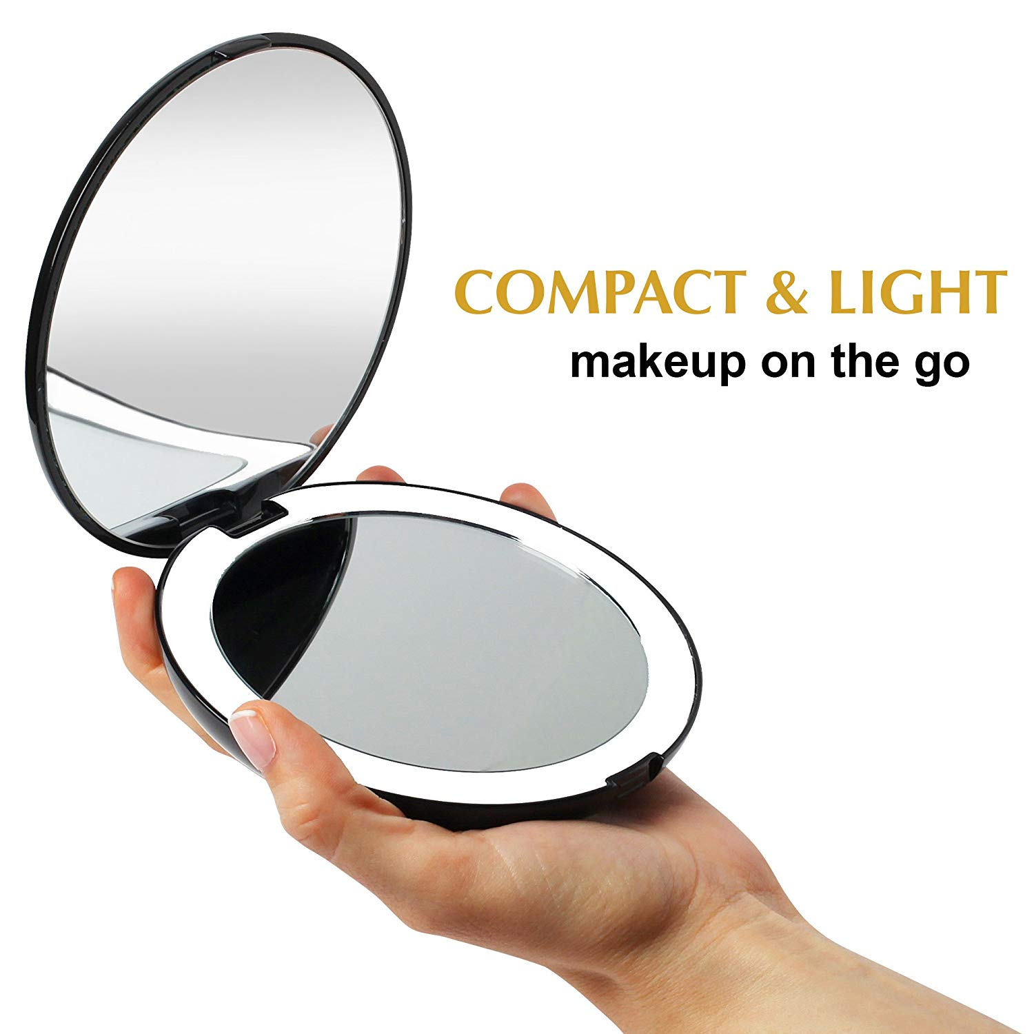 Portable Hand-Held Smart Travel Led Lighted Vanity Black Round Makeup Mirror