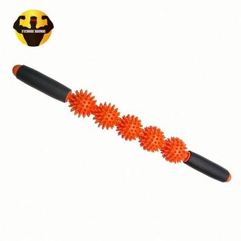 Rambo private label fitness 3 ball plastic spiky back massager muscle stick/bar