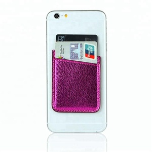 PU leather Cell Phone Stick On Wallet Card Holder for back of phone