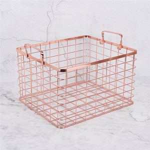 China supplier high quality metal rose gold storage basket