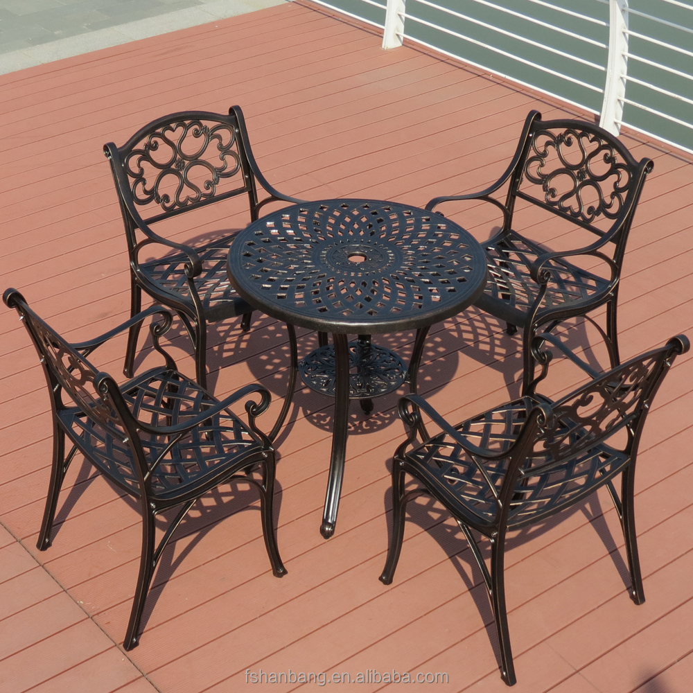 Outdoor Garden Patio Terrace Deck Furniture Set Square Round Marble Mosaic  Table Top With Wrought Iron