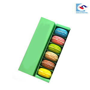 Elegant CMYK Coloful Food Grade Macaroon Art Paper Box With divide