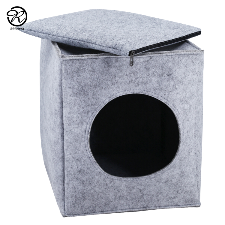 2019 china supplier trending comfortable wool felt pet house cat bed dog cave carrier with zipper lock