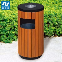 Outdoor wooden park trash can and stainless steel waste bins