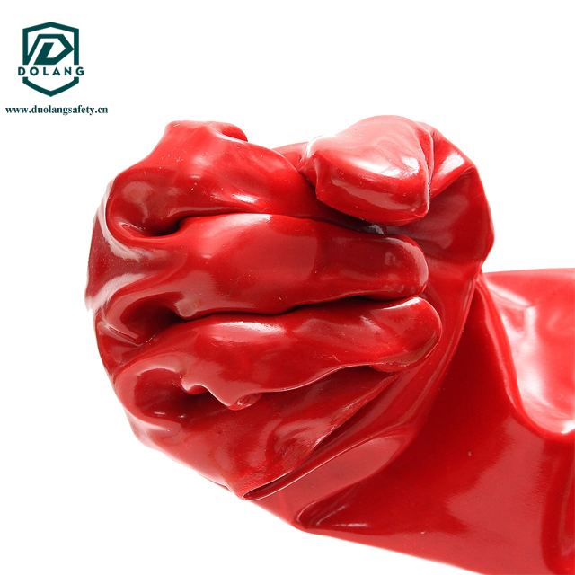 A 45cm red PVC fully coated glove with 100% cotton interlocked lining providing chemical and splash protection