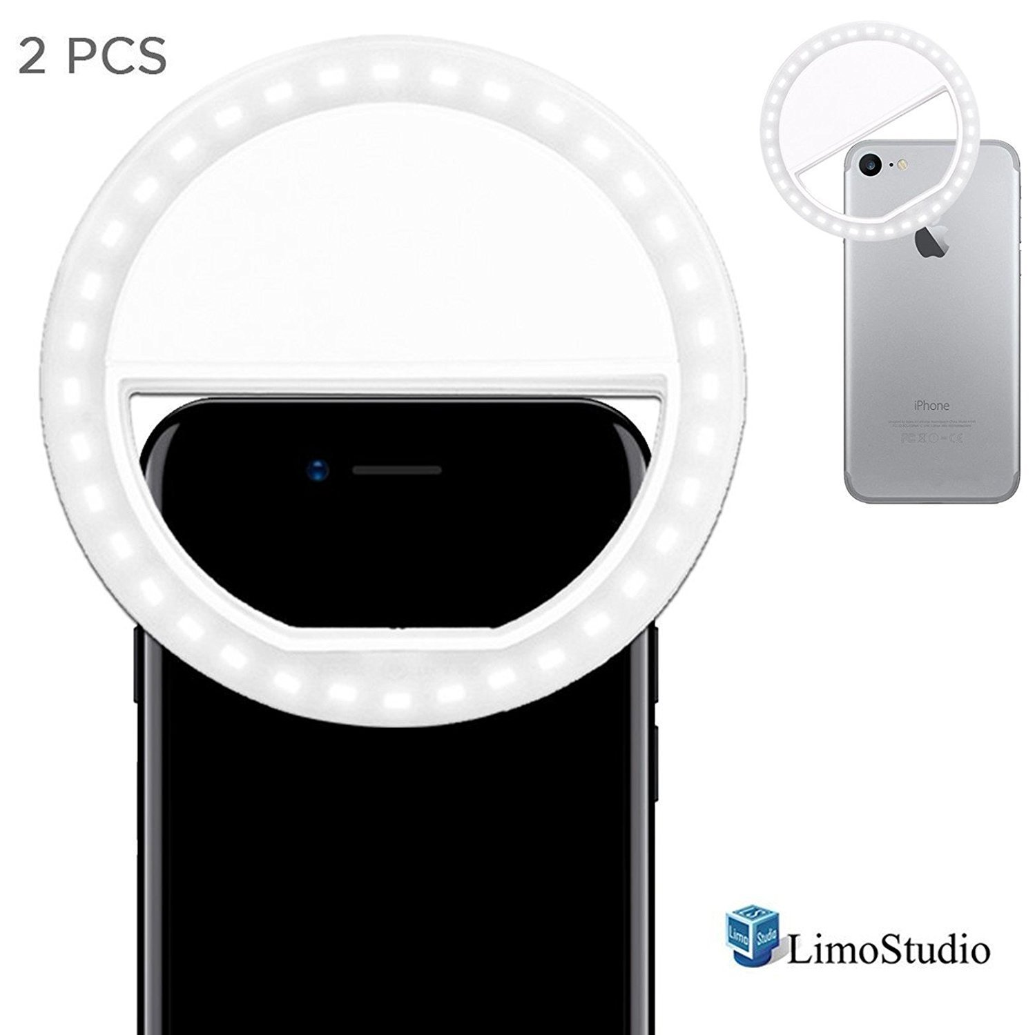 LimoStudio [2 PCS] 36 LED Portable Mini Ring Light for Cellphone Selfie LED Camera Light, for iPhone iPad Samsung Galaxy Smart Phone, White, Photo Studio, AGG1563