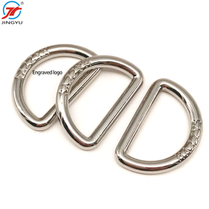 Custom high quality metal d ring buckle strap engraved logo D ring