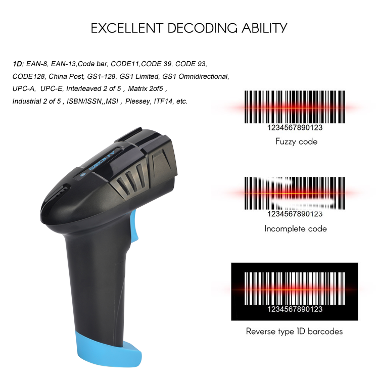 2020 New Barcode Scanner 2.4G Wireless With Charge Pedestal Cordless Barcode Scanner