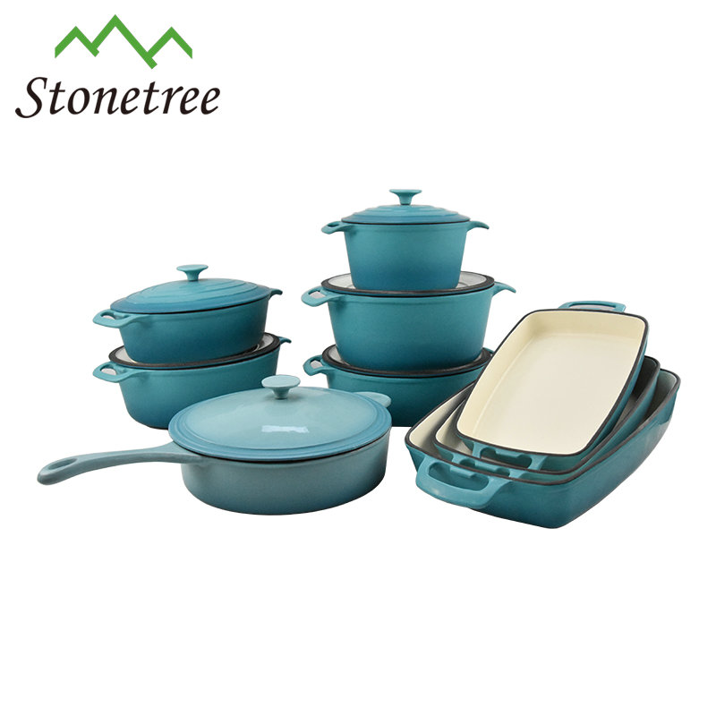 Enamel Die Cast Casserole Cooking Pots Cast Iron Cookware Set