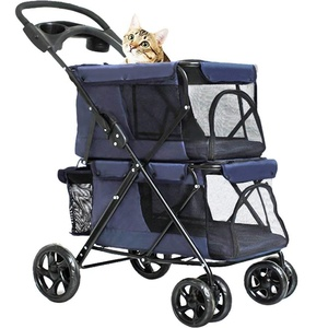 Hot Selling OEM 4 Wheels Comfortable Double Pet Stroller With Cup Holder