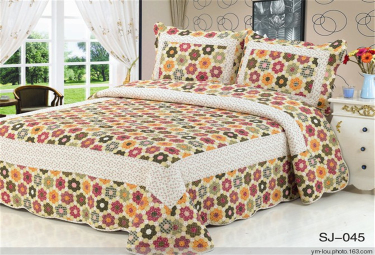 China hand painted bed sheets 100 cotton patchwork quilt for Bed quilting designs