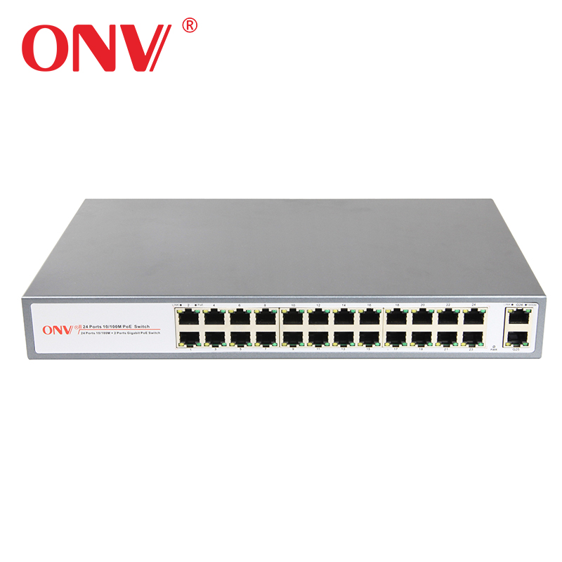 Hot OEM 24 Port 10/100 mbps Poe Switch met 2 SFP Gigabit Combo