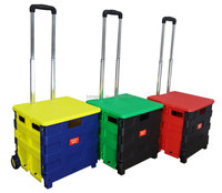 Middle size plastic folding box trolley on wheels for shopping outdoor