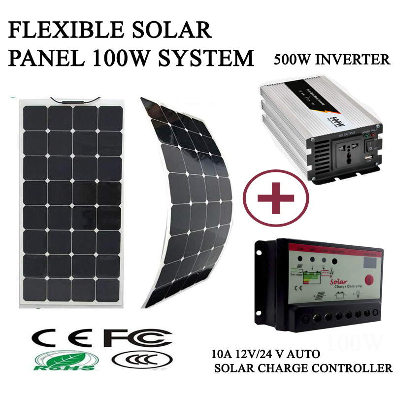 100W solar kit system with flexible solar panel 100W 10A ...