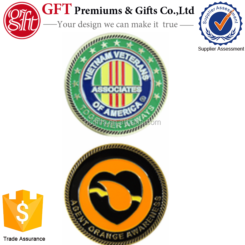 15 years coin manufacturer free artwork and quote custom Agent Orange Awareness AVVA Challenge Coin