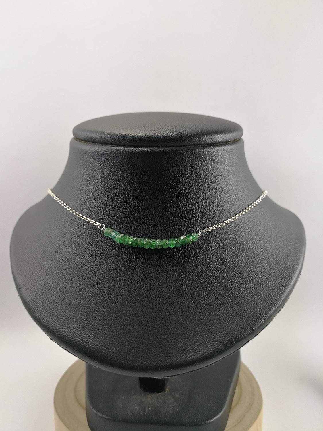"925 Sterling Silver Genuine Emerald Necklace,925 sterling silver chain,Size 16"",EMN1"