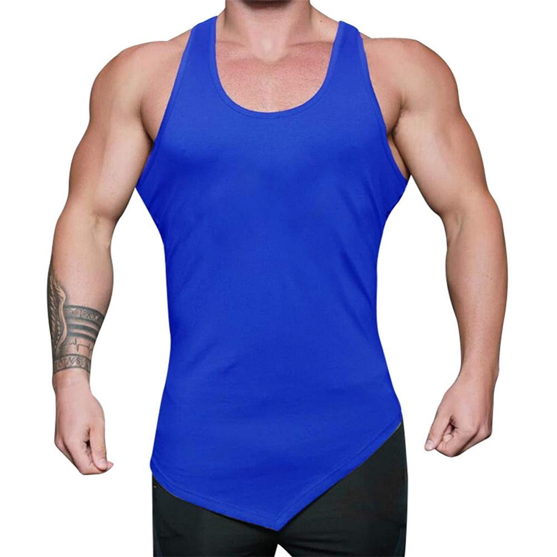 8c59565e92b Easytoy Men Dry Fit Bodybuilding Stringer Workout Tank Top Weight-Training  Y-Back Racerback for Gym Men