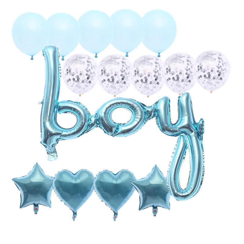 It's A Boy It's A Girl  Sex Reveal Foil Balloon Party Decoration Round Shape Air Helium Globos  round Confetti Inisde  Balloons