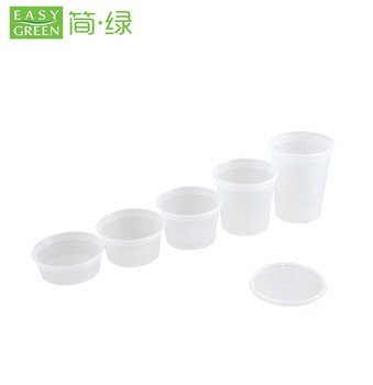 Easy Green High Quality 8oz Microwavable PP Plastic Deli Container Soup Cup With Lid