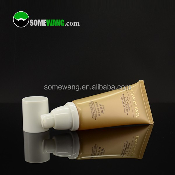High quality customized amber/gold plastic airless tube cosmetic ,very good quality