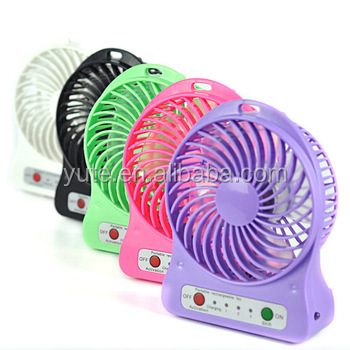 Plastic air battery power portable cooling travel handheld usb small rechargeable mini fan