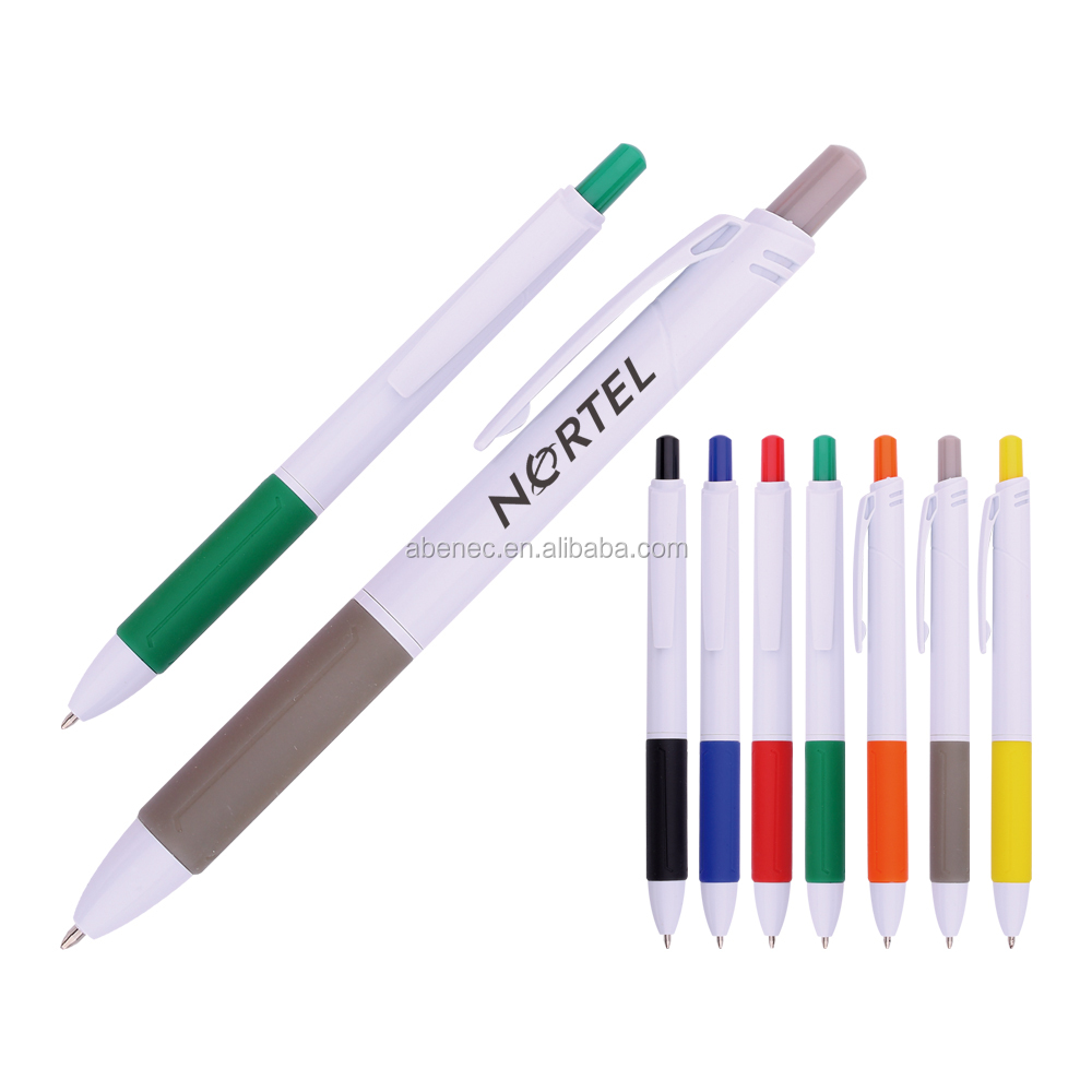 Mass production White barrel advertising cheap ball pen with OEM logo printed