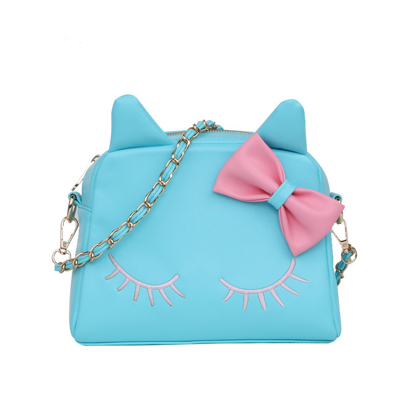 ae84442e4a5d Smallwholesale New cat face mini bag Cute kitty bow Messenger bag Blue and  black lovely bow