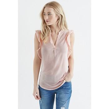 7c4bdb6f01d 100% вискоза бледно-розовый Frill Sleeve V шеи летняя блузка пользовательские  плотная вискоза