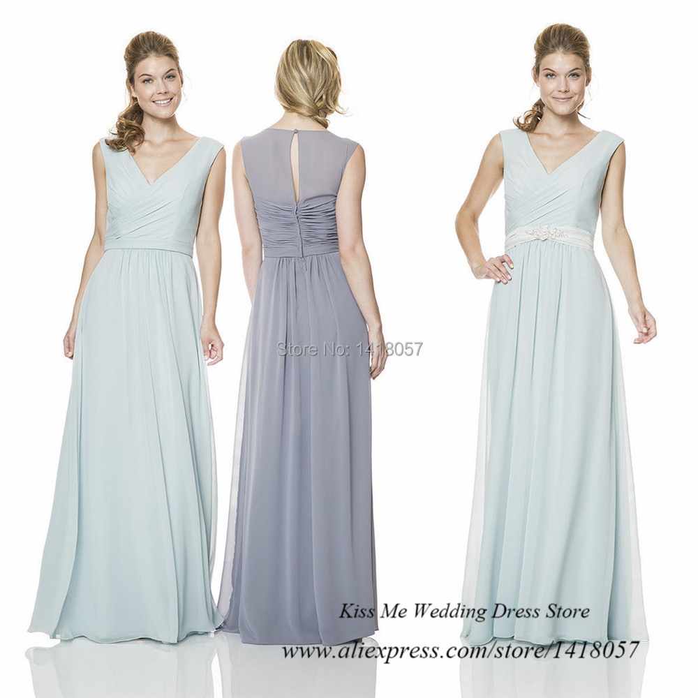 Robe Demoiselle D'honneur Mint Green Bridesmaid Dresses 2015 Chiffon Long Party Dress V Neck Vestido de Festa de Casamento