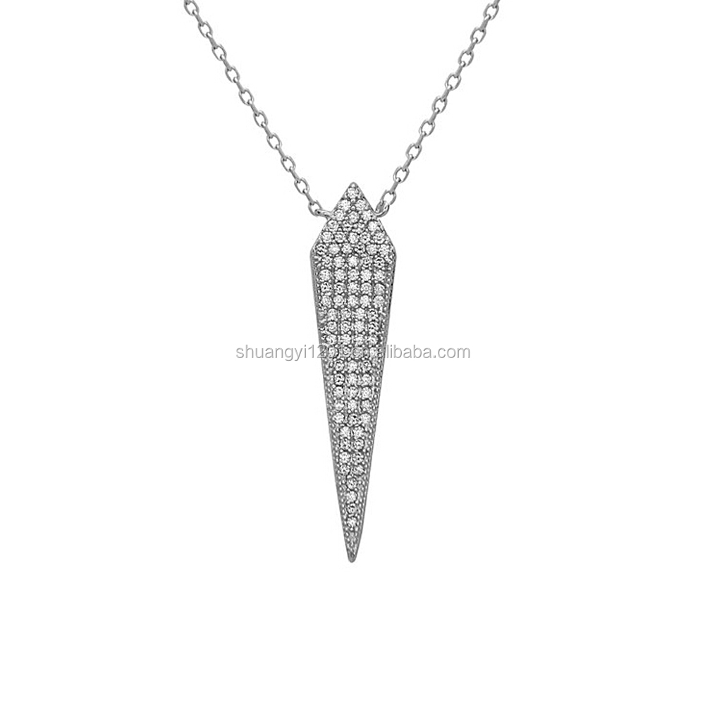 Metal Alloy Rhinestone Crystal Large Triangle Pendants Necklaces 2017 Fashion