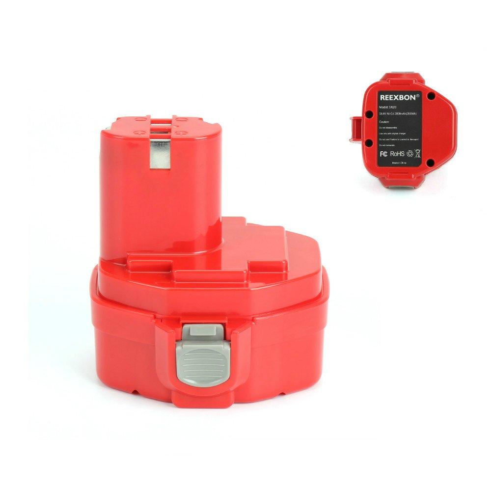 REEXBON 14.4V Battery for Makita 1420, Replacement Battery for Makita 1420, 1422, 1433, 1434, 1435, 1435F, 192699-A, 193158-3, 192600-1(2.0Ah, Ni-Cd)
