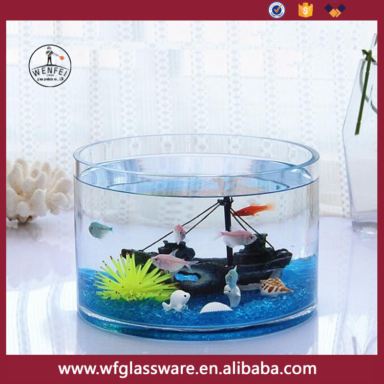 "10""Wenfei glass cylinder fish bowl large fish tank"