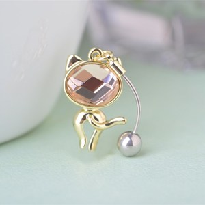 Wholesale Hot Selling Cat Navel Belly Button Rings 316L Stainless Steel Crystal Body Piercing Jewelry