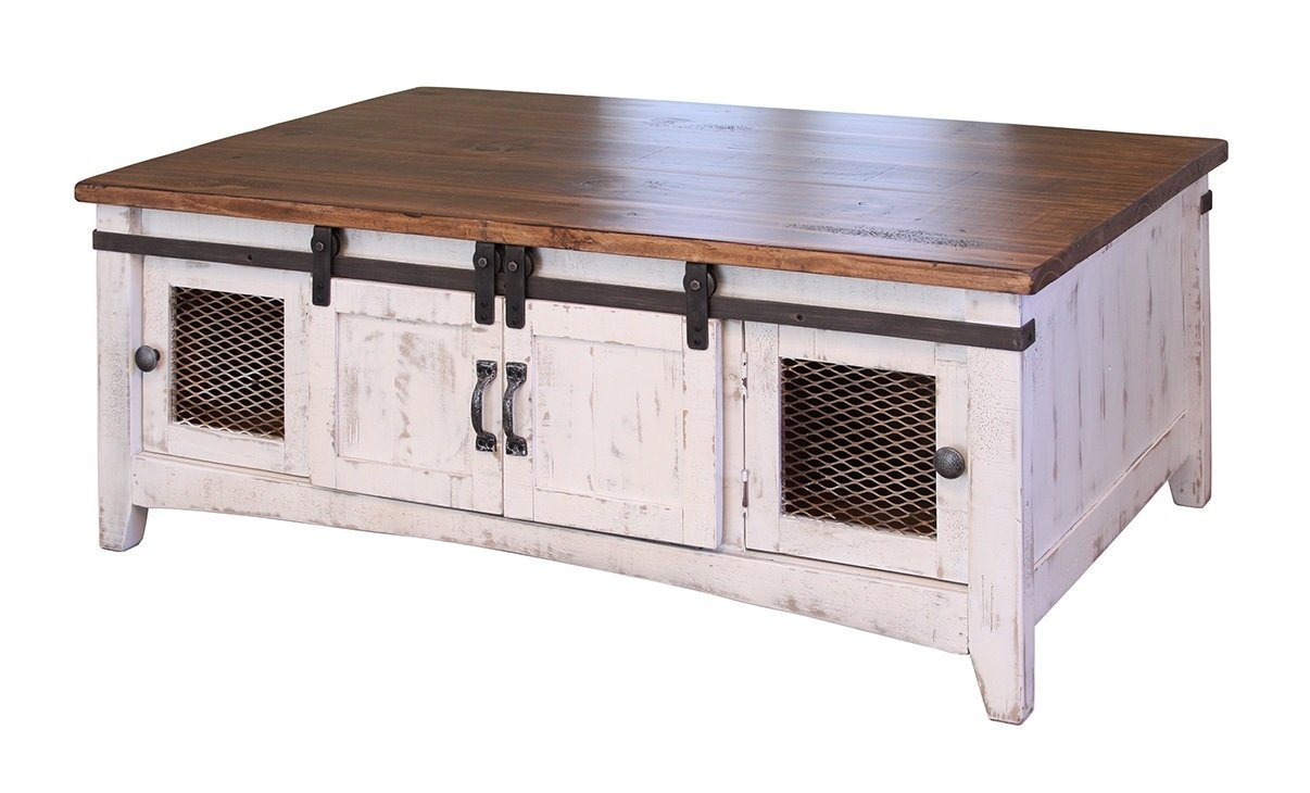 RR Anton Farmhouse Cocktail Solid Wood Distressed White Sliding Barn Door Coffee Table with Storage