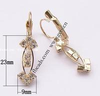 rhinestone gold earrings leverback vintage