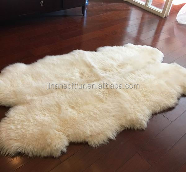 Big Rectangle Colored Sheepskin Floor Rugs For Living Room
