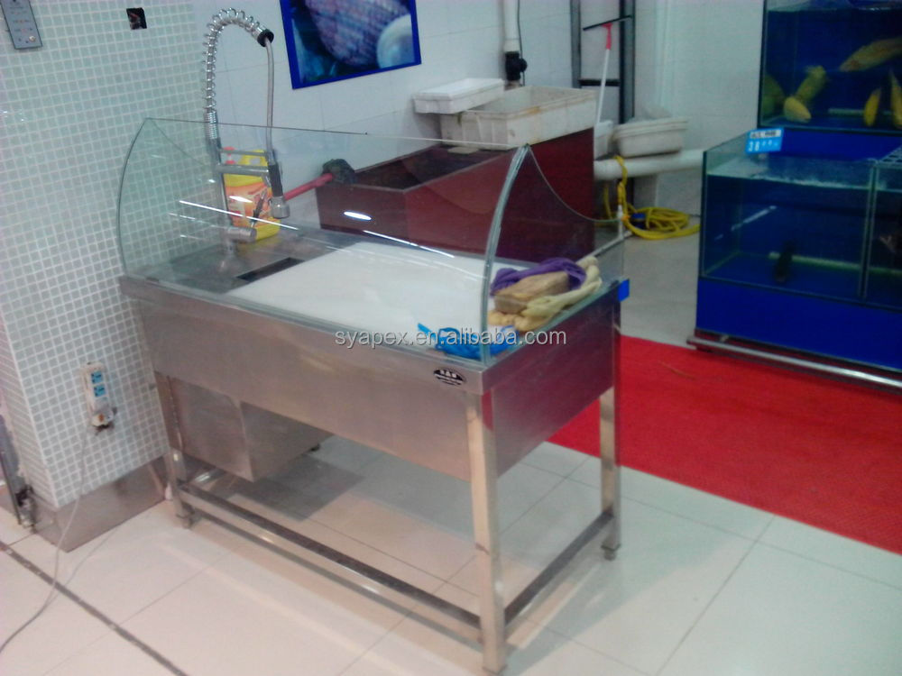 Captivating APEX Supermarket Luxury Stainless Steel Fish Cleaning Table/fish Processing  Table