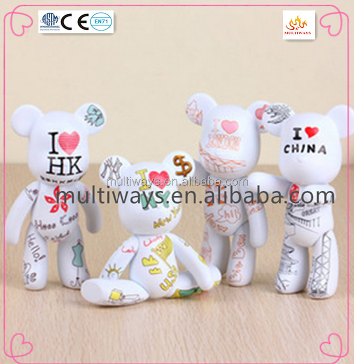 color bear plastic mini figurines with logo/ cartoon doll/making vinyl toys