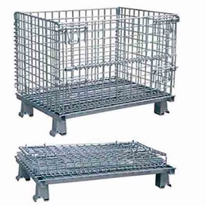 Warehouse usage iron galvanized net container /steel wire mesh cage