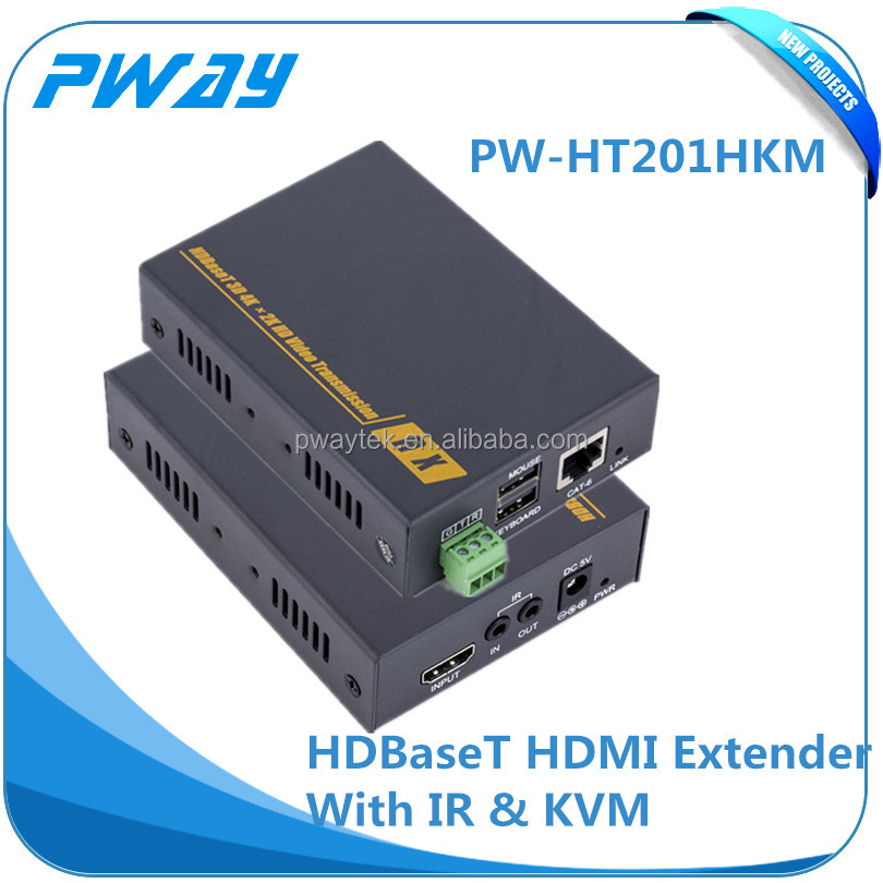 IR function HDBaseT KVM extender cable rj45 hdmi tv transmitter and receiver support USB keyboard